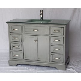 "Vanity 2422 46"" Gray w/Glass Top"