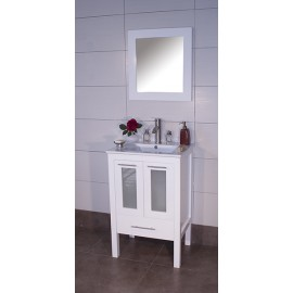 "Asti 24"" White, Ceramic Top w/Glass Doors"