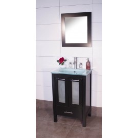 "Asti 24"" Espresso, Glass Top w/Glass Doors"