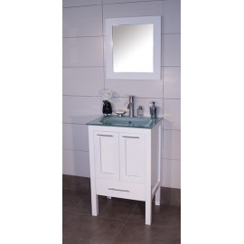 "Asti 24"" White, Glass Top w/Solid Doors"