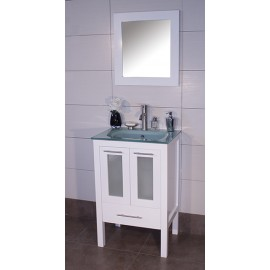 "Asti 24"" White, Glass Top w/Glass Doors"