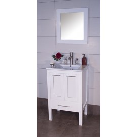 "Asti 24"" White, Ceramic Top, Solid Doors"