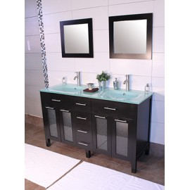 "Cardiff 60"" Espresso, Glass Top w/Integrated Glass Sinks, Glass Doors"