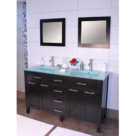 "Cardiff 60"" Espresso, Glass Top w/Integrated Glass Sinks, Solid Doors"