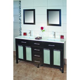 "Cardiff 60"" Espresso, Quartz Top w/Ceramic Undermount Sinks, Glass Doors"