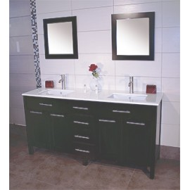 "Cardiff 60"" Espresso, Quartz Top w/Ceramic Undermount Sinks, Solid Doors"