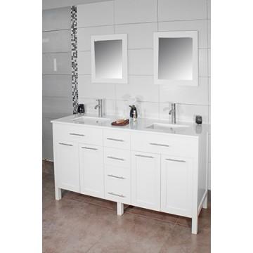"""Cardiff 60"""" White, Quartz Top w/Ceramic Undermount Sinks, Solid Doors"""