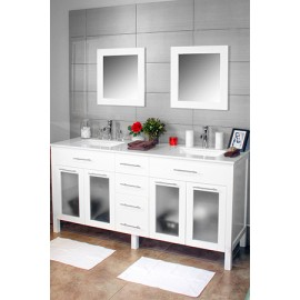 "Cardiff 72"" White, Quartz Top w/Ceramic Undermount Sinks, Glass Doors"