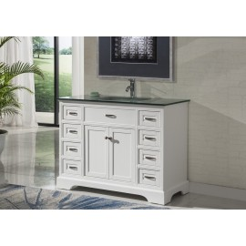 "Vanity 2422 46"" White w/Glass Top"
