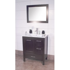 "Positano 36"" Espresso, Ceramic Top w/Integrated Ceramic Sink, Solid Doors"