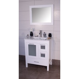 "Positano 30"" White, Ceramic Top w/Integrated Ceramic Sink, Glass Doors"