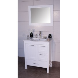 "Positano 30"" White, Ceramic Top w/Integrated Ceramic Sink, Solid Doors"