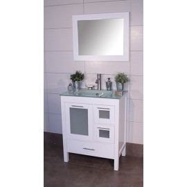 "Positano 30"" White, Glass Top w/Integrated Glass Sink, Glass Doors"