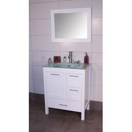 "Positano 30"" White, Glass Top w/Integrated Glass Sink, Solid Doors"
