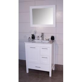 """Positano 36"""" White, Ceramic Top w/Integrated Ceramic Sink, Solid Doors"""