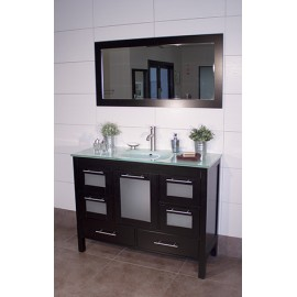 "Positano 48"" Espresso, Glass Top w/Integrated Glass Sink, Glass Doors"
