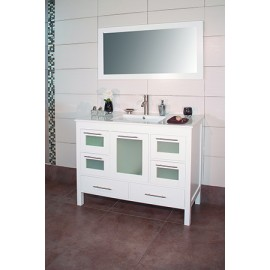 "Positano 48"" White, Ceramic Top w/Integrated Ceramic Sink, Glass Doors"