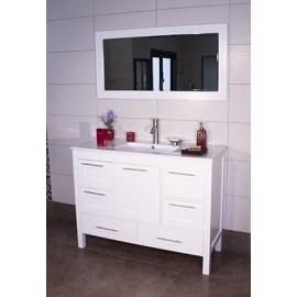 "Positano 48"" White, Ceramic Top w/Integrated Ceramic Sink, Solid Doors"