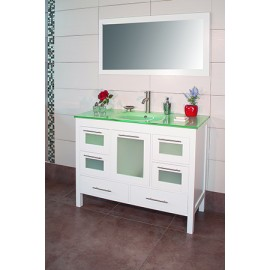 "Positano 48"" White, Glass Top w/Integrated Glass Sink, Glass Doors"