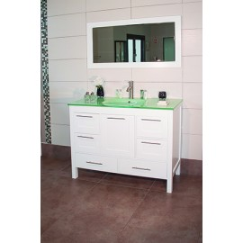 """Positano 48"""" White, Glass Top w/Integrated Glass Sink, Solid Doors"""