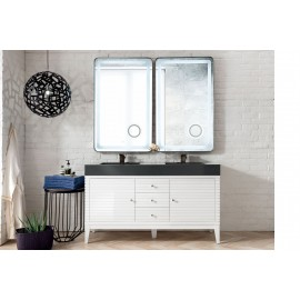 "Linear Glossy White 59"" Double (Vanity Only Pricing)"